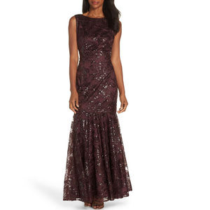 Vince Camuto Burgundy Sequin Floral Gown Dress NWT